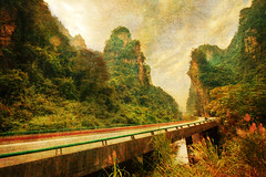 Driving through Remote China (Stuck in Customs) Tags: stuckincustoms treyratcliff stuck customs stuckincustomscom travel blog travelblog photography photoblog photographyblog hdr high dynamic range imaging digital processing software tutorial hdrtutorial trey ratcliff east asia china peoplesrepublicofchina republic prc yunnan   ynnn province southwest   lijiang zhangjiajie texture textural abstract landscape road bridge wild wilderness mountains rocks growth nature natural beautiful october 2010 nikond3x