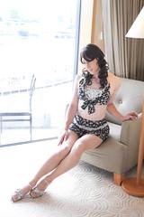 day235-15 black flower bikini swimsuit (Yumiko Misaki) Tags: black flower crossdressing transgender bikini transvestite swimsuit crossdresser day235 swimware transsexsual