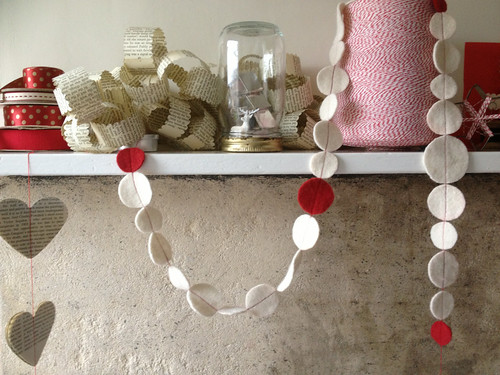 Scrap paper and felt garlands