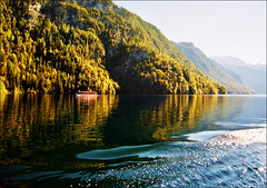 "Autumn lake - Königssee (much better in original size-press ""L"") (Katarina 2353) Tags: travel autumn light sunset vacation sky lake mountains alps reflection green fall film nature water forest germany landscape deutschland photography boat photo nikon shadows view image outdoor paisaje paysage range priroda königssee pejzaž katarinastefanovic katarina2353 gettylicense"