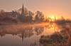 A Beautiful Dawn (Captain Nikon) Tags: misty sunrise reflections dawn golden silhouettes nottinghamshire riversoar churchofstjames nikond90 normantononsoar connected2013