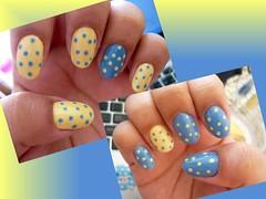 Bolinhas invertidas! (8mlsdeamor) Tags: azul amarelo bolinhas filhaúnica clubedoesmalte