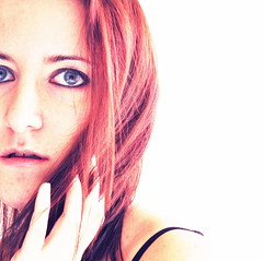 You touched my soul. (Blackmuse) Tags: blue light red portrait selfportrait me myself rouge blu rosso azzurro i