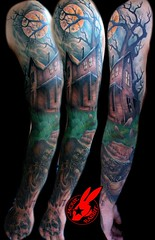 Haunted House Sleeve Tattoo by Jackie Rabbit (Jackie rabbit Tattoos) Tags: city moon house tree halloween tattoo star virginia cool colorful good awesome great scarecrow haunted creepy spooky roanoke va crow scare sleeve jackierabbit