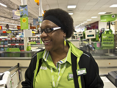 303-366 Year4 Carol Isn't Sure She Did The Right Thing (johngarghan) Tags: uk portrait england people green project asda photography birmingham october uniform unitedkingdom stranger number carol earrings 365 westmidlands 175 2012 leapyear year4 smallheath project365 365project 100strangers 303366 johngarghan excusemecanitakeaphotoofyou