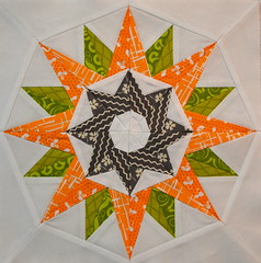 Block for littlemamaD (jenjohnston) Tags: orange green grey star chartreuse compass quiltblock paperpieced quiltingbee 4x5bee
