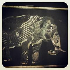 Night Elephant (L'imaGiraphe (en travaux)) Tags: streetart elephant paris france animal mobile night square graffiti squareformat mobilephone effect nuit iledefrance butteauxcailles filtre
