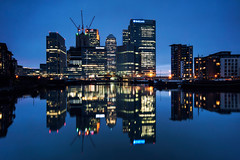 Docklands Blue (Explore #1) (martinturner) Tags: street blue light india canada west tower glass thames night skyscraper docks reflections river square boats mirror skyscrapers angle state district wide like business hour wharf docklands canary financial hsbc barclays citi hamlets architectures centres martinturner