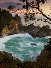 Tidefalls - - - Big Sur, California (ernogy) Tags: ocean california sunset usa landscape coast waterfall high aqua pacific tide bigsur falls montereycounty juliapfeifferburnsstatepark mcwayfalls highway84 mcway ernogy