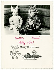 Merry Costumed Christmas (Alan Mays) Tags: santa christmas xmas old trees costumes decorations girls cute bunnies boys portraits vintage children cards typography clothing funny holidays humorous photos furniture humor ears ephemera clothes sofa photographs tigers type santaclaus greetings rabbits amusing wreaths sleds typefaces edges foundphotos greetingcards serrated sleighs addedtoip