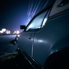 (patrickjoust) Tags: auto usa color 120 6x6 mamiya tlr film car night analog america dark lens us reflex md highway focus automobile long exposure fuji mechanical united release tripod north patrick twin maryland slide cable s cadillac route chrome wires after medium format 40 states tungsten manual expired joust fujichrome e6 overhead balanced 65 pulaski estados f35 reversal unidos 65mm c330 sekor t64 autaut patrickjoust