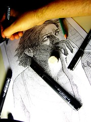 201211042233 (lindenb) Tags: portrait woman art girl face illustration pen pencil ink pencils paper sketch hand drawing eraser main dessin research sheet hatch crayon hatching homingpigeon feutre hachures