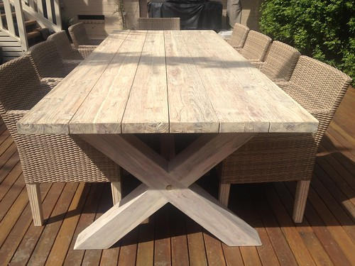Royalle Outdoor Teak Plymouth 11 Piece Setting - Plymouth 400cm X 100cm Teak Table In Whitewash Finish 10 Armchairs