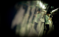 the time traveller (bettina.e) Tags: analog subway hongkong crowd olympus depthoffield 35mmfilm