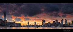 London Pano (Explore #456) (esslingerphoto.com) Tags: city greatbritain bridge sunset england sky orange sunlight reflection building london tower church wet water thames skyline architecture clouds canon river photography eos evening boat europe exposure cityscape shot britain pano capital great stpauls architectural single 5d wren christopherwren shard gherkin cityoflondon mkii esslinger esslingerphotocom esslingerphoto