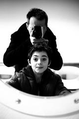 Selfie/Portrait (father and son) (Patrick Dricot) Tags: family famille portrait kids blackwhite eyes faces belgium belgique noiretblanc interior interieur son nb ombre yeux reflet inside enfant visage fils xe1 fujix mirrorless xf35mm fujixe1