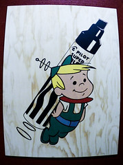 The Jetsons Streetart (Steve Taylor (Photography)) Tags: art cartoon graffiti streetart wood plywood boy kid newzealand nz southisland canterbury christchurch ymca spectrum festival lad pilot super antenae sharpie pen marker belt space jetpack jetsons