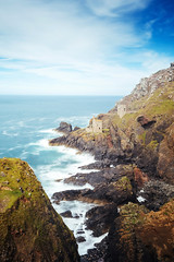 Botallack Mines (tariqphoto) Tags: botallack mines engine rooms house cliff cliffside blue sky sea summer 2016 august cornwall coast coastline sony a7 zeiss loxia 21mm lee filters rocks grass heathland heath clouds long exposure landscape landscapes seascapes seascape