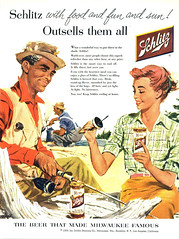 Schlitz, 1956 ad (Tom Simpson) Tags: schlitz fishing fish fisherman man woman illustration vintage ad ads advertising advertisement vintagead vintageads 1956 1950s