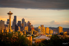 Seattle Sunset  (T.ye) Tags: seattle rainer volcano building space needle clouds city urban sunlight sunset