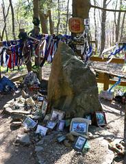 Bikers memorial (Majorimi) Tags: bike die motorbike motor tomb shrine mausoleum memory tree memorial cross tape accident helmet motorcycle