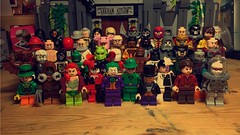 Batman Day. (LordAllo) Tags: lego dc batman day joker harley quinn two face riddler poison ivy penguin scarecrow mr freeze killer croc bane ras al ghul clayface moth mad hatter man bat villains