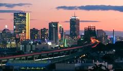 Boston skyline from Malone Park in Chelsea (muttasem.razzaq) Tags: boston skyline tobin zakim malone chelsea light trails