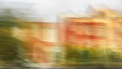 Victorian blur (Steve-h) Tags: travel architecture victorian redbrick houses green trees bushes dublinbus chimneys windows doors fanlights dublin ireland europe digital exposure handheld slowshuttercam apple iphone 6s steveh art design patterns