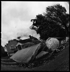 Brandon Cohen- Ollie (Austin Shafkowitz) Tags: newyork tree film zeiss skateboarding hurricane cement hasselblad sidewalk skate disaster gnarly skater ilford cruiser 500cm flashpoint naturel portwashington perceptol panf50 cft30mm