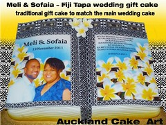 FIJI TAPA GIFT WEDDING CAKE (Anita (Auckland Cake Art)) Tags: birthday new wedding party baby art cakes cake fiji island stag chocolate auckland zealand gift frangipani samoa tapa pacifica samoan hens fondant tongan frangipanis sugarpaste cricut aucklandcakeart