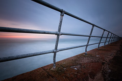 geometry (Richard Boak (stuck on the rock)) Tags: sunset sea water lines point coast long exposure slow jersey railing vanishing nd110