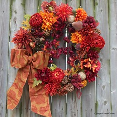 "Door Wreath ""Aspen Fall Flame"" (CottageCraftsOnline) Tags: red orange maroon cottage craft mums wreath doorwreath fallwreath cottagecraft silkfloral thanksgivingwreath cottagecraftsonline cottagecrafts cottagecraftsonlinewreath aspenleafribbon 4inchribbon cottagecraftswreath cottagecraftonline"