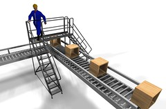 L shaped conveyor crossover