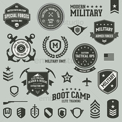 Military badges (Ember Studio) Tags: rescue mountain green classic sign set modern illustration dark emblem army design search sticker unitedstates graphic symbol decorative label military web tag banner guard navy style stamp ornament national american seal elite badge round anchor shield marines patch airforce bootcamp insignia rank exploration vector armedforces specialforces blackops tactical designelement
