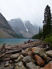 Moraine Lake in the rain (annkelliott) Tags: trees lake canada mountains nature water forest spectacular landscape lumix scenery rocks turquoise logs alberta scree pointandshoot peaks breathtaking banffnationalpark morainelake valleyofthetenpeaks beautyinnature rockflour beautifulexpression annkelliott anneelliott fz200 glaciallyfed dmcfz200 panasonicdmcfz200 p1000267fz200