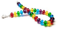 'Christmas Lights' Simplicity Bracelet (Beads By Laura) Tags: blue red green art glass yellow beads purple handmade bracelet lampwork sterlingsilver laurasparling beadsbylaura