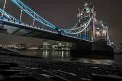 Mud Larking Tower Bridge (Scott Baldock Photography) Tags: street city uk nightphotography bridge urban building london tower art westminster st thames architecture night towerbridge landscape dock nikon long exposure angle mud tide low hill estuary more waterloo wharf gb gateway bermondsey borough 20 tamron shad southwark wapping butlers se1 cityoflondon lightroom urbex fenchurch katherines tooley walkie talkie larking blackriars cityarchitecture d5000