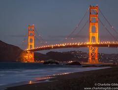 Golden Gate Bridge at Dusk, San Francisco (Charlotte Hamilton Gibb) Tags: ocean sanfrancisco california nightphotography bridge usa beach night landscape dusk goldengatebridge bakerbeach charlottegibbphotography