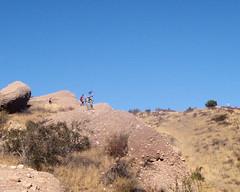 030 Cliff Barrier (saschmitz_earthlink_net) Tags: california cliff orienteering runner 2012 rockformation aguadulce vasquezrocks losangelescounty laoc losangelesorienteeringclub