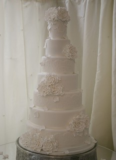 White Rose Wedding Cake by Cotton and Crumbs