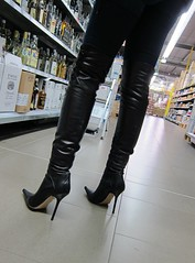 Supermarket (Rosina's Heels) Tags: public high boots thigh heel stiletto overknee