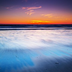 After Sun  [EXPLORE FRONT PAGE] (Martin Mattocks (mjm383)) Tags: longexposure orange sun seascape abstract colour reflection texture clouds canon square sand waves glow horizon crop singhray canoneos5dmarkii stunningskies cornwalllandscapes mjm383 martinmattocksphotography