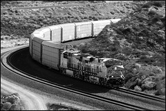 Autoracks On The Curve (greenthumb_38) Tags: railroad up train desert trains tradition silverwood pilgrimage bnsf cajon cajonpass canon40d desertrailroading jeffreybass cpsilverwood cajonpilgrimage pilgrimshill