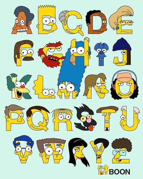 『辛普森家庭』英文字母表海報