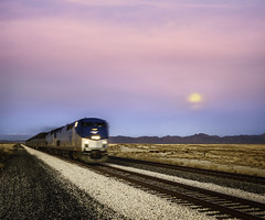 moonline (bugeyed_G) Tags: arizona moon southwest train landscape nikon desert dusk 85mm rail railway playa transportation locomotive passenger willcox tiltshift pce vertorama bugeyedg