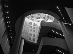 sfmoma entrance view (Demetrios Lyras) Tags: bw building architecture lights blackwhite sfmoma balconies soma mariobotta sfist stairways sanfranciscocausa