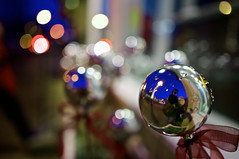 Holiday Chrome Spheres - EXPLORED (sean lancaster) Tags: christmas holiday zeiss village bokeh michigan sony explore 24 gaslight selfie egr nex 5n nex5n za24
