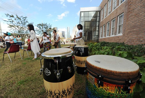 The KoumenKele African Dance & Drum Ensemble prepare for their performance with the Wharton School Drummers.