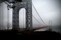 The George Washington Bridge on December 10, 2012 (mudpig) Tags: nyc newyorkcity bridge shadow mist snow newyork tree fog geotagged newjersey traffic manhattan nj gothamist georgewashington hdr gwb fortlee georgewashingtonbridge washingtonheights mudpig stevekelley stevenkelley