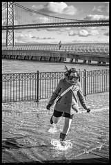 Run, Run! (Mike Filippoff) Tags: sanfrancisco water high waterfront tide wheelchair sunny sidewalk baybridge embarcadero hightide overflow baywater pier14 kingstide